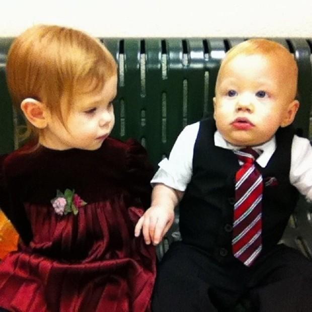 Kiddos dressed up for Christmas